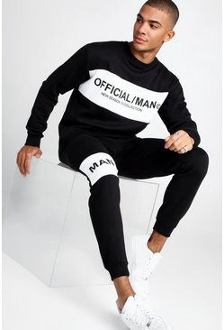 Mens Black Official MAN Colour Block Sweater Tracksuit