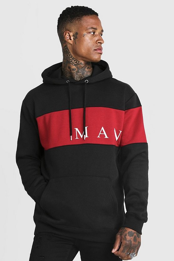 Mens Black MAN Sport Contrast Panel Hoodie
