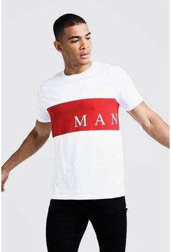 Mens White MAN Sport Contrast Panel T-Shirt