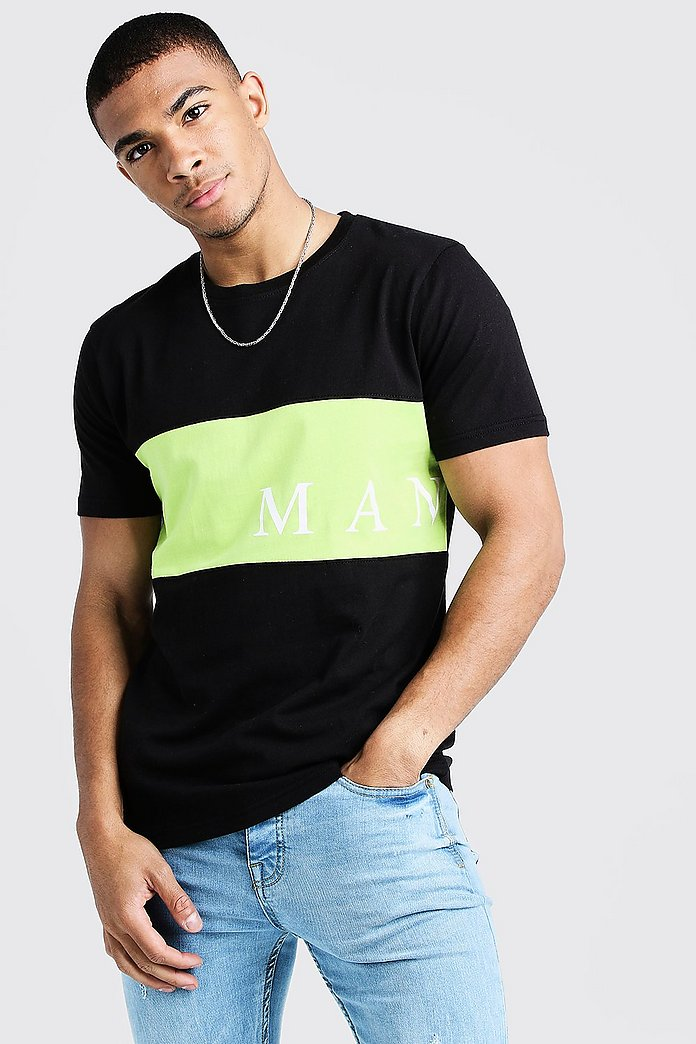 MAN Sport Contrast Panel T Shirt | Boohoo UK