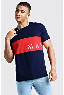 Navy MAN Sport Contrast Panel T-Shirt