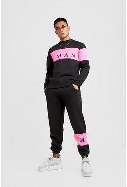 Mens Black MAN Sport Contrast Panel Regular Fit Sweater Tracksuit