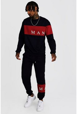Navy MAN Sport Contrast Panel Sweater Tracksuit