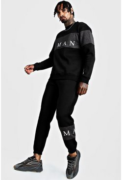Herr Black MAN Sport Contrast Panel Sweater Tracksuit
