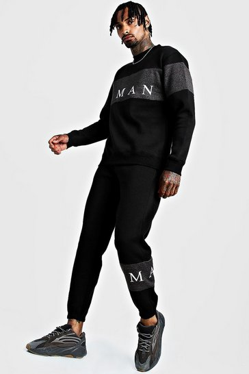 Mens Black MAN Sport Contrast Panel Sweater Tracksuit