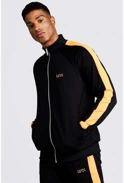 Mens Neon-orange MAN Zip Through Tracksuit With Neon Panels