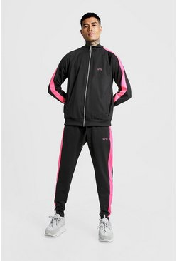 Mens Neon-pink MAN Zip Through Tracksuit With Neon Panels