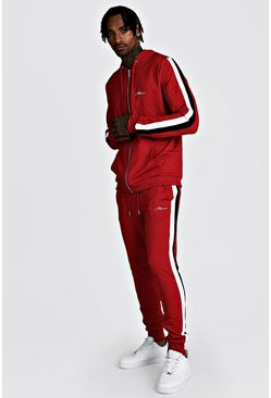Mens Red MAN Zip Through Tracksuit With Double Panel
