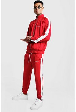Mens Red Tricot MAN Funnel Neck Tracksuit With Panels