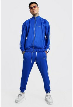 Herr Cobalt Tricot MAN Funnel Neck Tracksuit With Panels