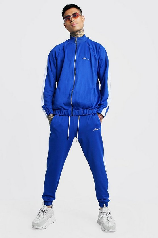 Tricot Man Funnel Neck Tracksuit With Panels by Boohoo