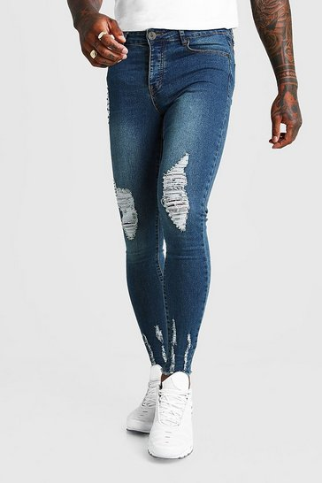 Indigo Super Skinny Jeans With Raw Hem