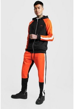 Mens Orange MAN Colour Block Zip Hooded Tracksuit