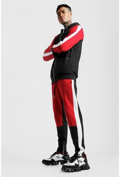 Mens Red MAN Colour Block Zip Hooded Tracksuit