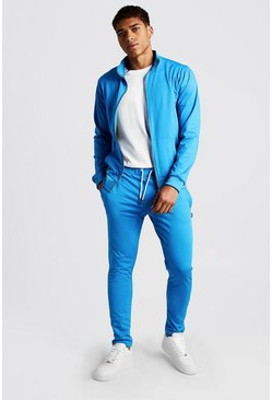 Mens Blue Tricot Funnel Neck Tracksuit With MAN Tab