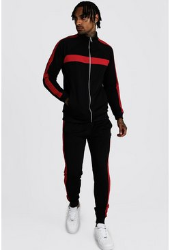 Mens Black Tricot Zip Through  Panelled Tracksuit
