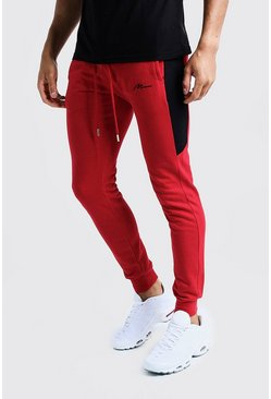 Mens Red MAN Signature Half Side Panel Joggers