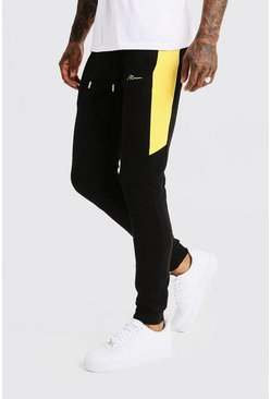 Mens Black MAN Signature Half Side Panel Joggers