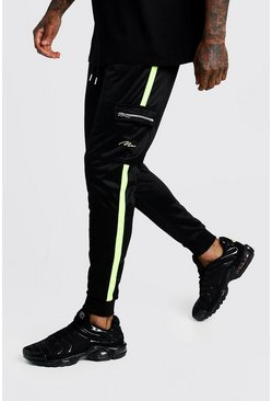 Herr Black Tricot MAN Cargo Joggers With Neon Panels