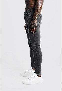 Mens Grey Super Skinny Jeans With All Over Rips