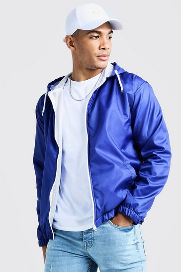 Mens Cobalt Hooded Zip Through Jacket