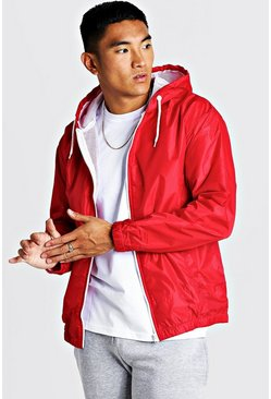 Red Hooded Zip Through Jacket