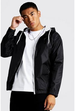 Mens Black Hooded Zip Through Jacket