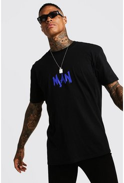 MAN Oversized Back Print T-Shirt, Black, HOMBRE