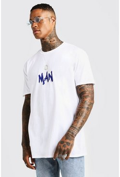 Mens White MAN Oversized Gentleman Back Print T-Shirt