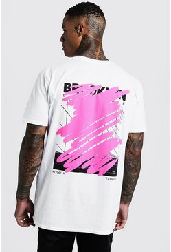 MAN Oversized Graffiti Back Print T-Shirt, White, HOMBRE