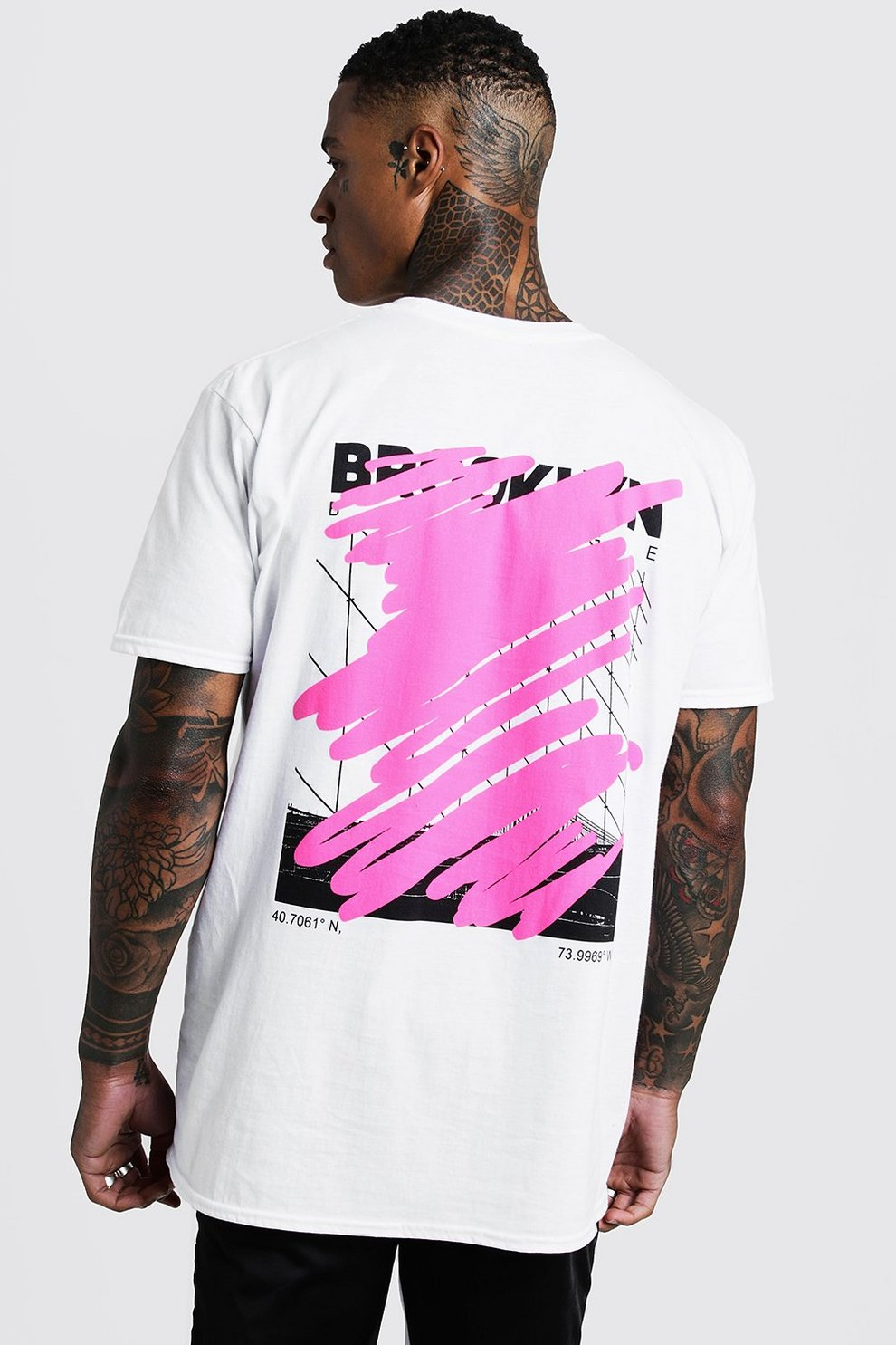 663c6ad1c MAN Oversized Graffiti Back Print T-Shirt | Boohoo