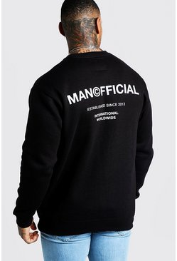 Mens Black MAN Official Drop Shoulder Back Print Sweater