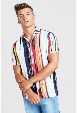 Mens White Abstract Print Short Sleeve Revere Shirt