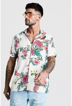 Mens White Oversized Print Revere Shirt