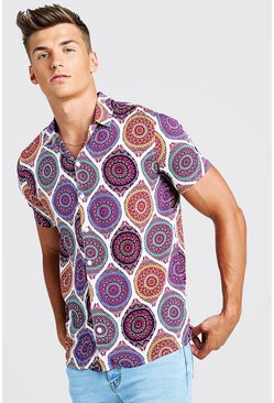 Mens White Aztec Print Short Sleeve Revere Shirt
