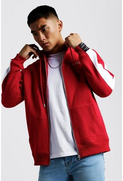 Sweat à capuche zippé AW Poly MAN, Rouge, Homme