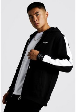 Herr Black MAN Zip Through Sleeve Panel Fleece Hoodie