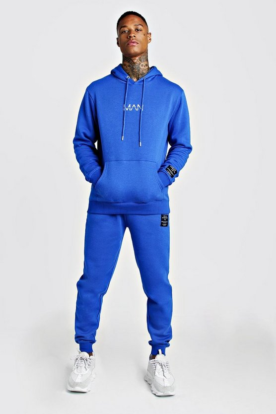 Mens Cobalt MAN AW Hooded Tracksuit