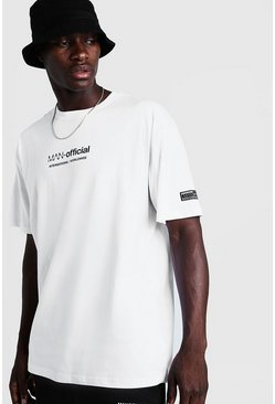 Mens White MAN Oversized T-Shirt With Woven Badge Detail