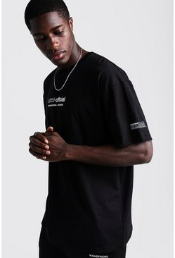 Herr Black MAN Oversized T-Shirt With Woven Badge Detail