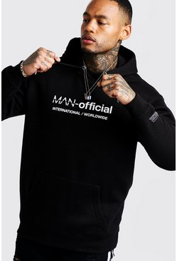 Mens Black MAN Loose Fit Woven Badge Hoodie