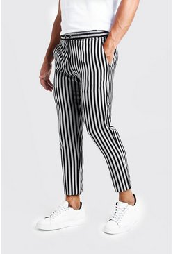 Black Herringbone Stripe Smart Cropped Jogger Pants