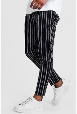 Herr Navy Herringbone Stripe Smart Cropped Jogger Trouser