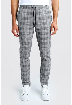 Black Jaspe Check Smart Jogger Trouser