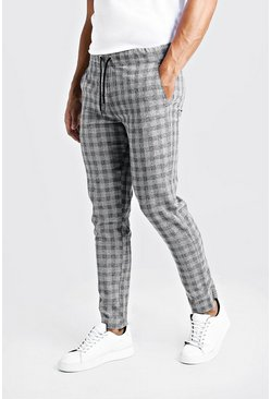 Mens Grey Textured Check Smart Jogger Trouser