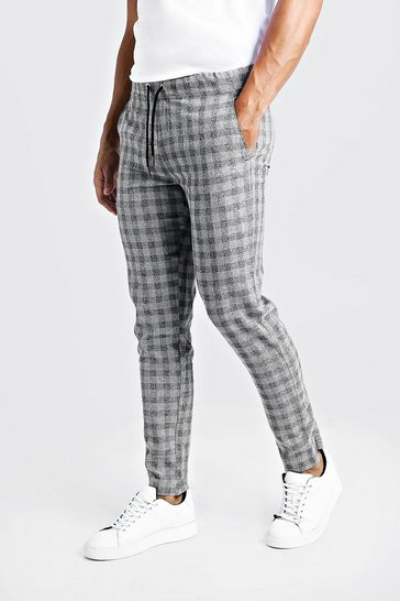 Grey Textured Check Smart Jogger Trouser