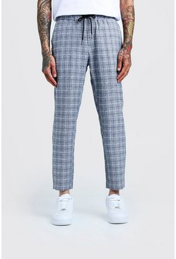 Herr Grey Windowpane Check Smart Cropped Jogger