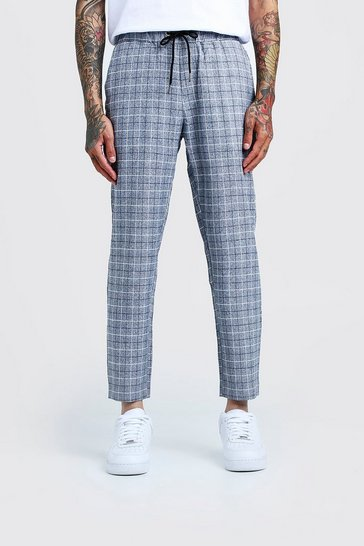 Mens Grey Windowpane Check Smart Cropped Jogger