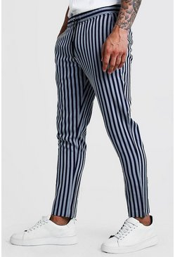 Pinstripe Smart Cropped Jogger Trouser, Navy, HOMMES