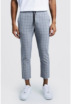 Herr Navy Check Smart Cropped Jogger Trouser